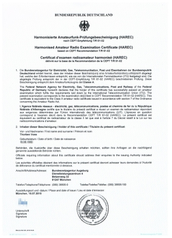 Harmonized Amateur Radio Examination Certificate